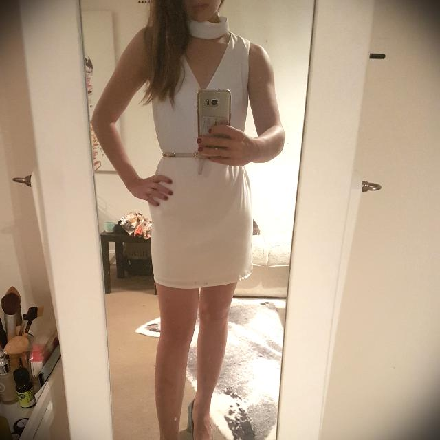 White Shift Dress With Collar - Size XS