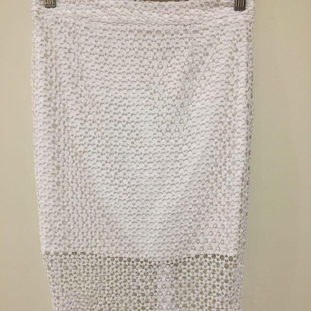 Witchery White Pencil Line Midi Skirt Size 6