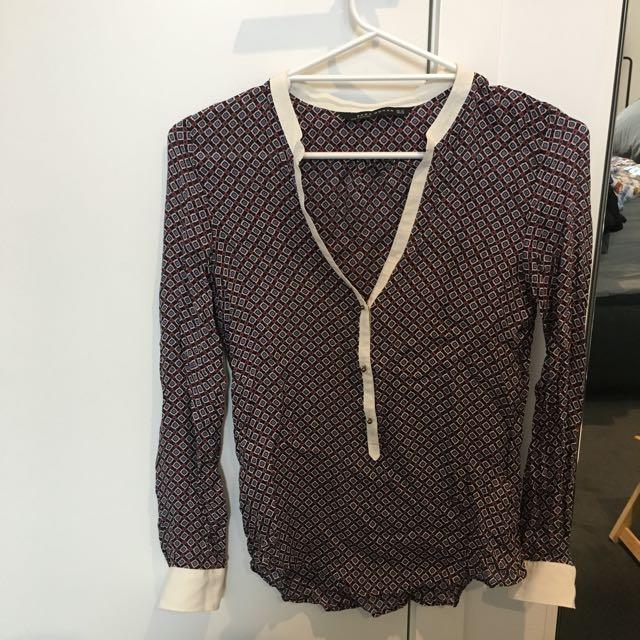 Zara Mulberry Silk Blouse Size XS