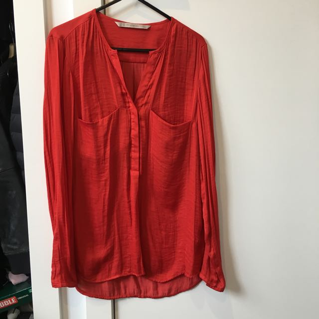Zara Red Blouse Size XS
