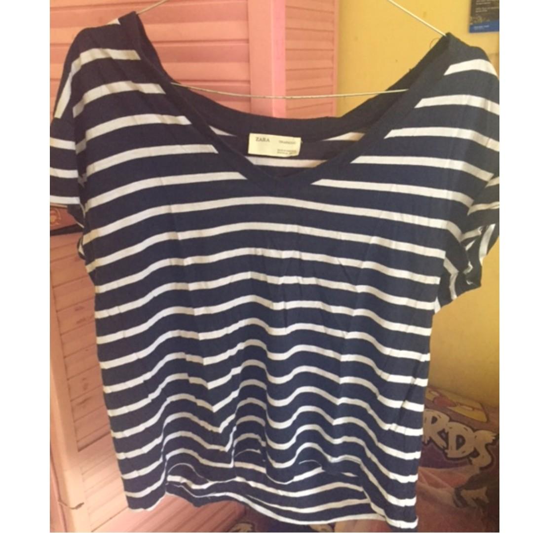 Zara Trafaluc Stripes Tshirt Uk. L