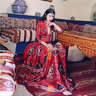 印度女神「深v長洋裝」顯瘦長洋裝印花波西米亞紅色圖騰
