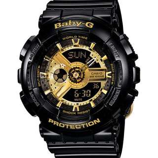 Casio Baby-G Analogue/Digital Female Black/Gold Watch BA110-1A BA-110-1ADR