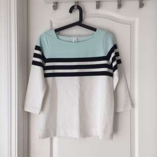 Club Monaco Teal Striped Top
