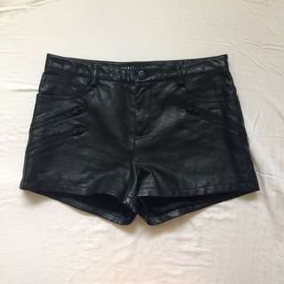 Guess Vegan Leather High waisted Shorts Size Two