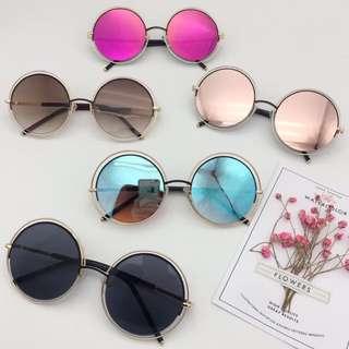 時尚名牌款眼鏡 漸層圓金邊太陽眼鏡 墨鏡