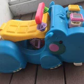 Toy Car (hippo Shape) With Animals And Fruits Blocks