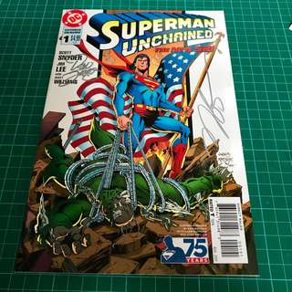 DC COMICS SUPERMAN UNCHAINED #1 1:25 VARIANT COVER SIGNED BY DAN JURGENS & NORM RAPMUND NM/NM-