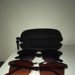 2 Half Rim Sunglasses Plus Case