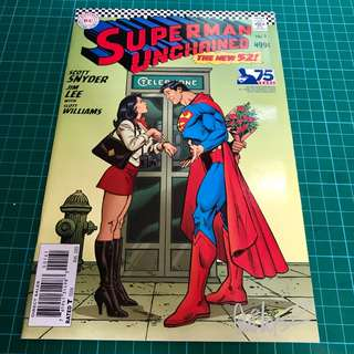DC COMICS SUPERMAN UNCHAINED #1 1:50 SILVER AGE VARIANT COVER SIGNED BY JOSE LUIS GARCIA-LOPEZ NM/NM-