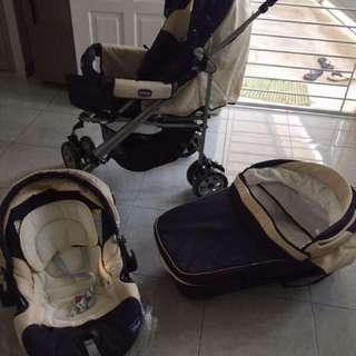 stroller chicco trio ( lengkap dengan stroller, baby's cot dan car seat)