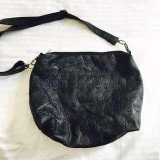 Black Leather Skull Handbag