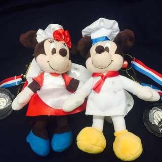 日本 迪士尼 米奇 米妮 廚師造型 吊飾 鑰匙圈 2隻一組600元(不分售)