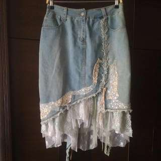 全新 單寧手工縫製閃片綁帶多層蕾絲牛仔裙