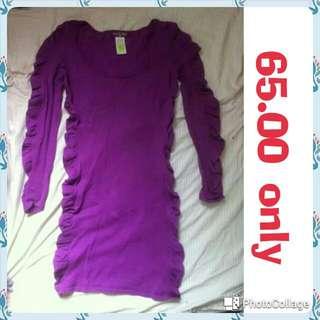 pre loved purple body con long sleeves dress