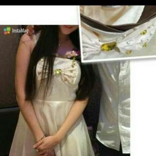 米色水鑽緞面細肩帶小禮服