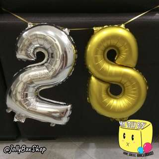 16 Inch Number Balloons x 2 - Displayed by Hanging Using String | My Jolly Box 98573128 | Birthday Decorations