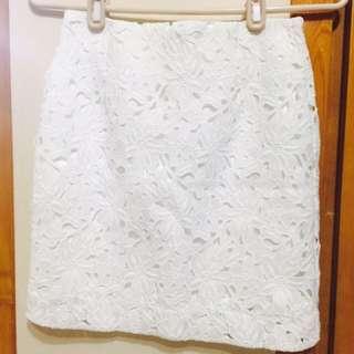 韓國 氣質布蕾絲窄裙