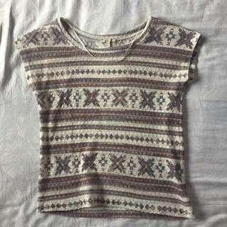ZARA TRAFALUC Aztec Print Crochet Top