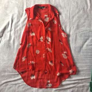 FOREVER 21 Red Floral Sheer Chiffon Top