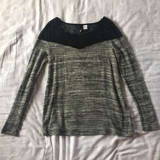 H&M Gray Sweater With Sheer Black Shoulders
