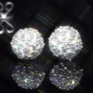 全新18K白金76份大睇靚靚立體鑽石波球形鑽石耳環