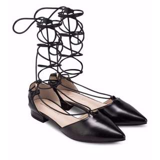 Something Borrowed Laced Up Pointed Flats