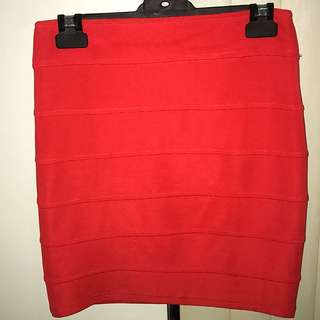 Red Ribbed Skirt