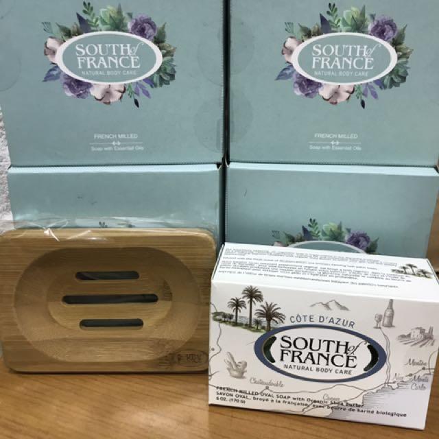 現貨南法馬賽皂馬卡龍禮盒組170g+防潮竹製皂架  全新 未使用