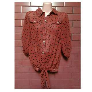 Brown Polka Blouse