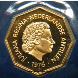1976 Netherlands Antilles 200 gulden proof gold coin - Low mintage