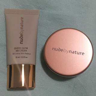Nude By Nature Sheer Glow BB Cream In Natural tan & Natural Mineral Cover In Medium