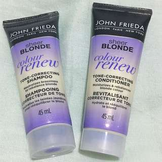 John Frieda Sheer Blonde Tone Correcting Colour Renew Shampoo & Conditioner 45mL
