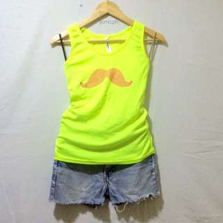 Neon Yellow Racer Back With Mustache Studs