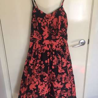 Pre Loved City Chic Plus Size Orange And Black Floral Dress. Size - XS
