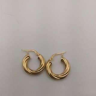 Genuine 9CT Yellow Gold Hoop Earrings