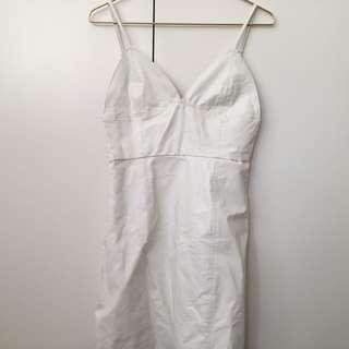 White leatherette cami slip dress