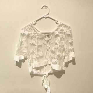 White Lace Top - Size 12