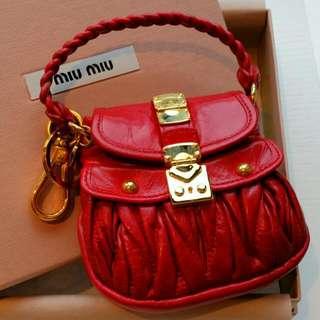 100% New Limited Edition Miu Miu Mini Coffer Bag Coins Bag Handbag Charm Key Chain