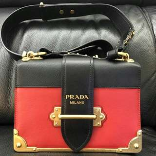 Prada Cahier two-tone Leather Shoulder Bag