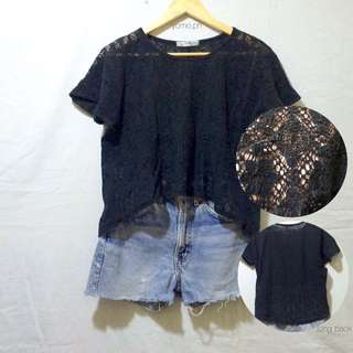 Black Lace Top With Long Back