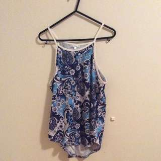 Valley girl Women's Clothing Patterned Singlet Blue Shirt