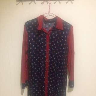 Red Navy Long Shirt