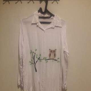 Owl White Long Shirt