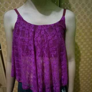 Pink crop top lace cover Top