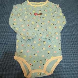 女寶寶長袖水藍色小白花包屁衣24m