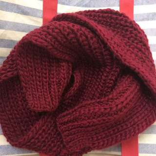New  Knit Muffler / Scarf - Wine