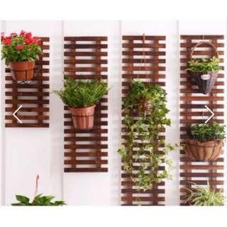 Carbonized cedarwood Plant stand plant rack for Sun & Rain