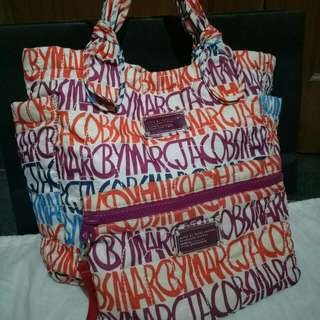 Authentic Marc By Marc Medium Nylon Tote Handbag w/ Pouch