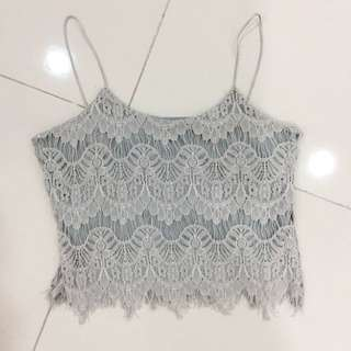 Grey Lace Crop Top